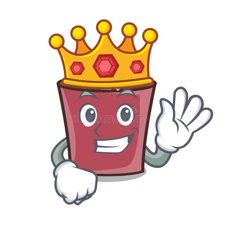 Bande dessinée de mascotte de chocolat chaud de roi illustration de vecteur
