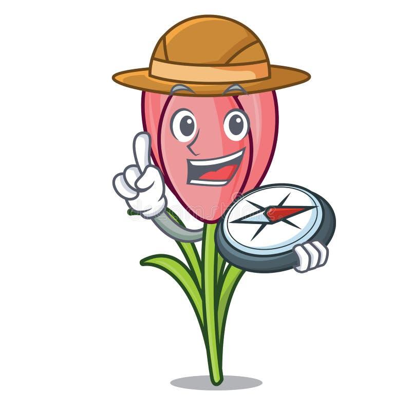 Bande dessinée de mascotte de fleur de crocus d'explorateur illustration de vecteur