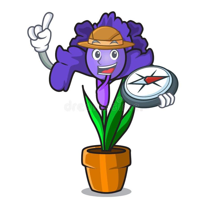 Bande dessinée de mascotte de fleur d'iris d'explorateur illustration stock
