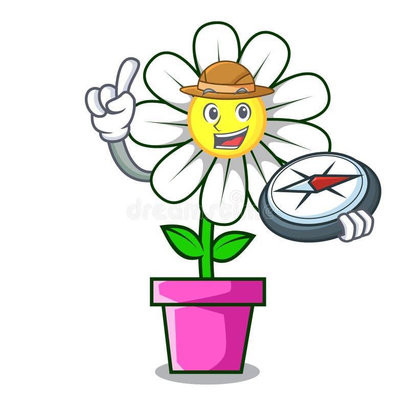 Bande dessinée de mascotte de fleur de marguerite d'explorateur illustration stock