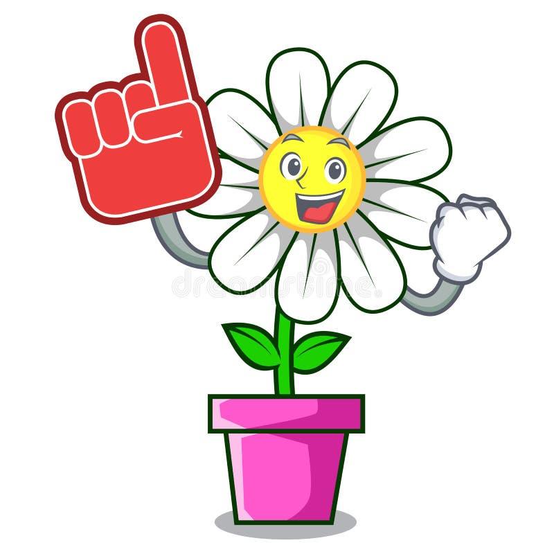 Bande dessinée de mascotte de fleur de marguerite de doigt de mousse illustration stock