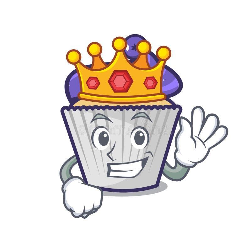 Bande dessinée de mascotte de petit gâteau de myrtille de roi illustration de vecteur