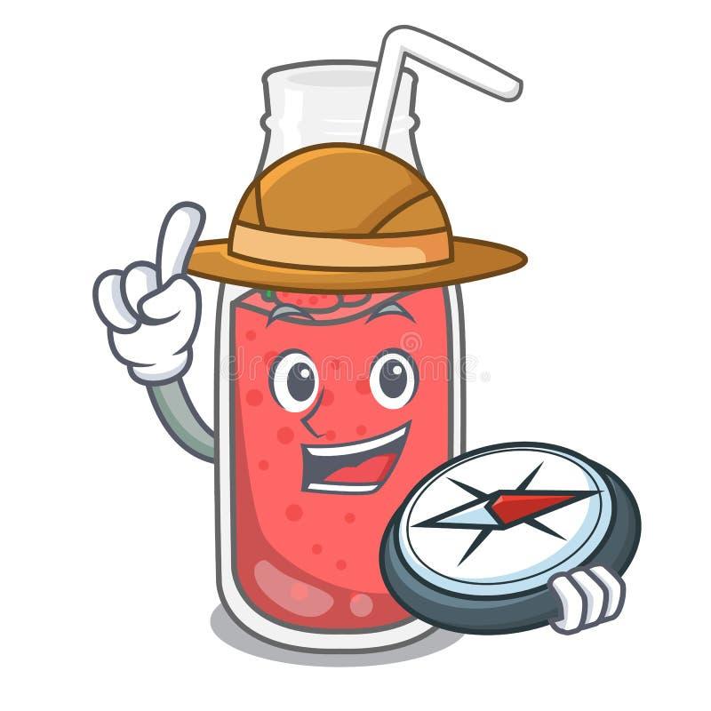 Bande dessinée de mascotte de smoothie de fraise d'explorateur illustration libre de droits
