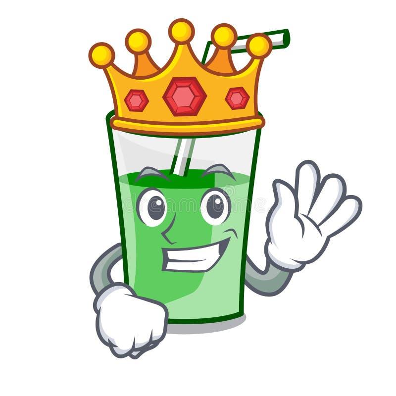 Bande dessinée de mascotte de smoothie de vert de roi illustration stock