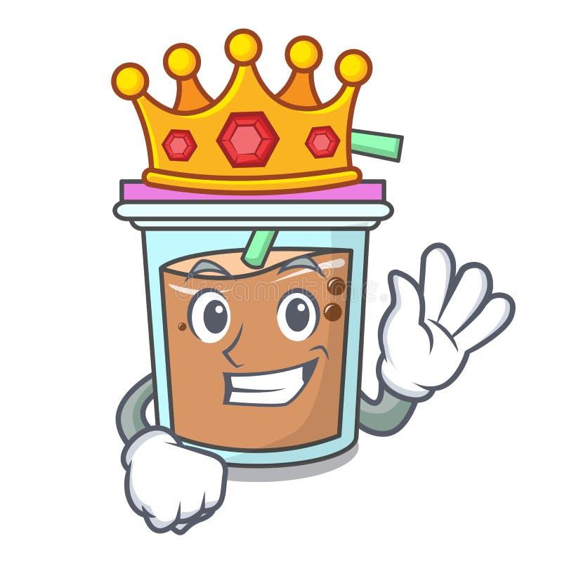 Bande dessinée de mascotte de thé de bulle de roi illustration stock