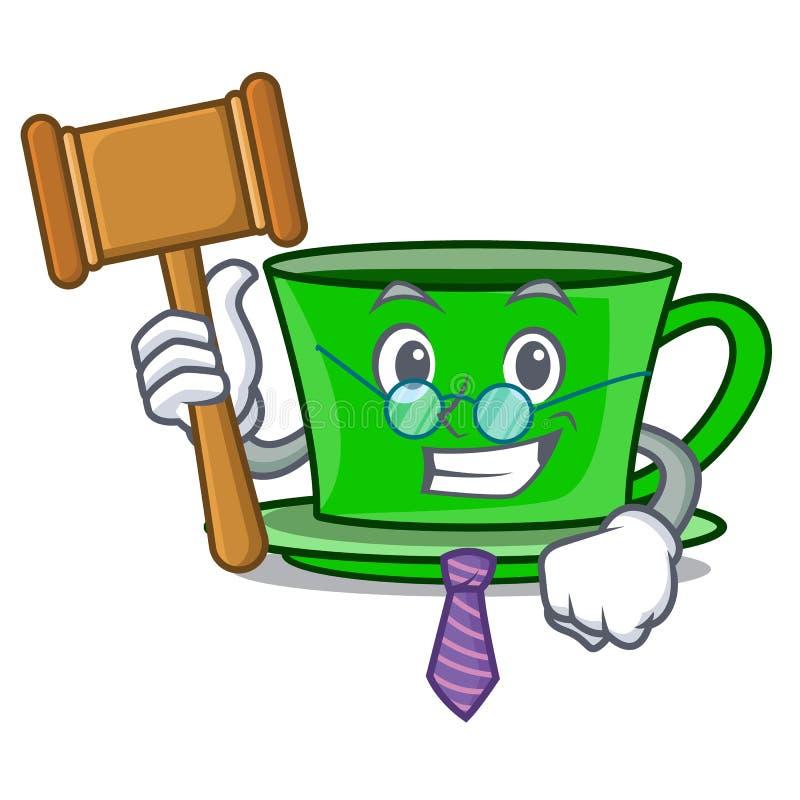 Bande dessinée de mascotte de thé vert de juge illustration de vecteur