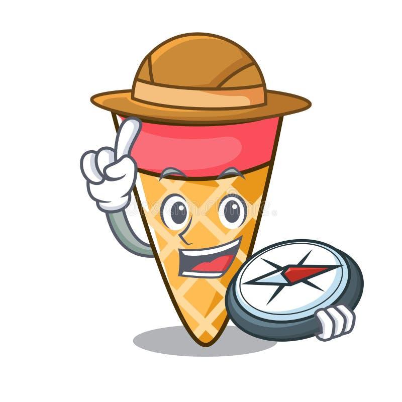 Bande dessinée de mascotte de ton de crème glacée d'explorateur illustration stock