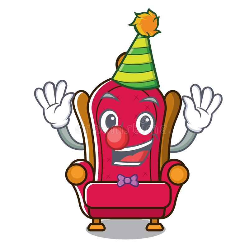 Bande dessinée de mascotte de trône de roi de clown illustration libre de droits
