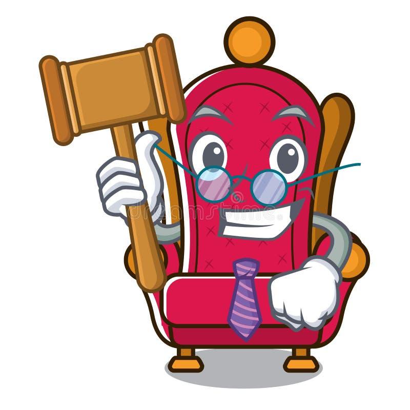 Bande dessinée de mascotte de trône de roi de juge illustration de vecteur