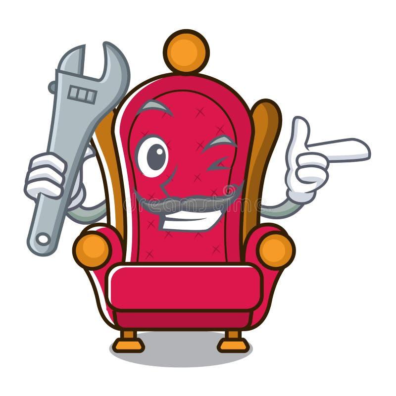 Bande dessinée de mascotte de trône de roi de mécanicien illustration libre de droits