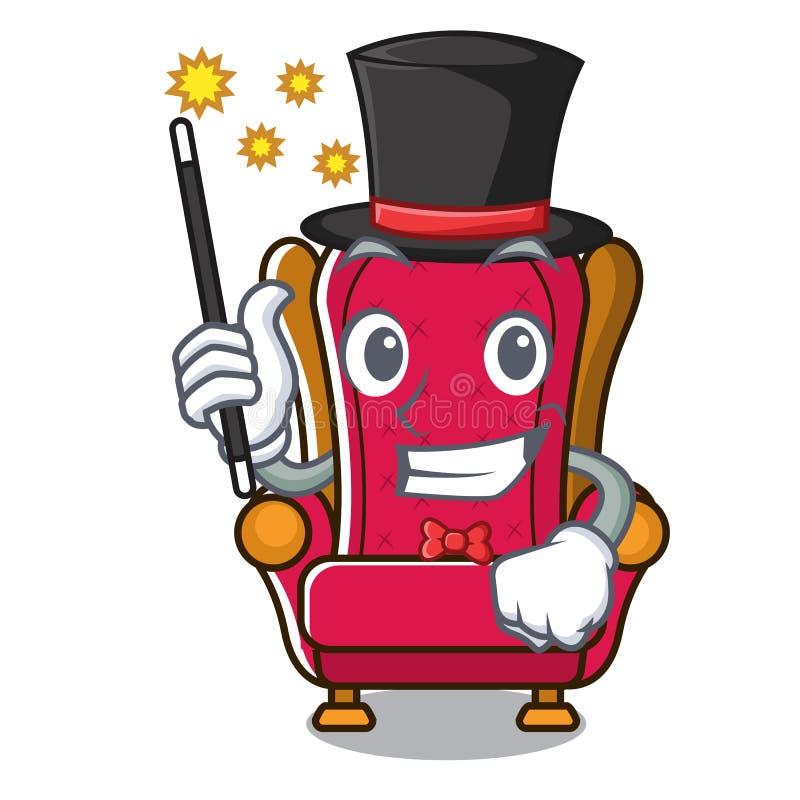 Bande dessinée de mascotte de trône de roi de magicien illustration stock