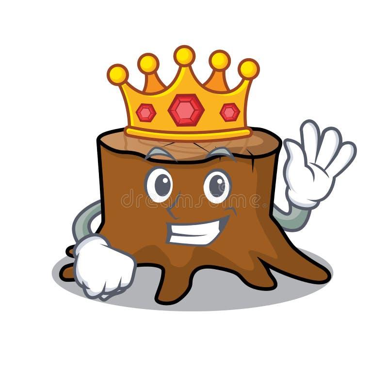 Bande dessinée de mascotte de tronçon d'arbre de roi illustration stock