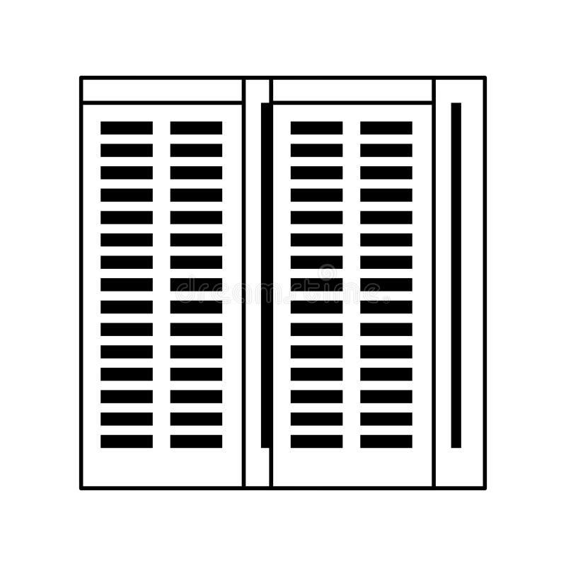 Bande dessinée de matériel de réseau de tours de serveur en noir et blanc illustration libre de droits