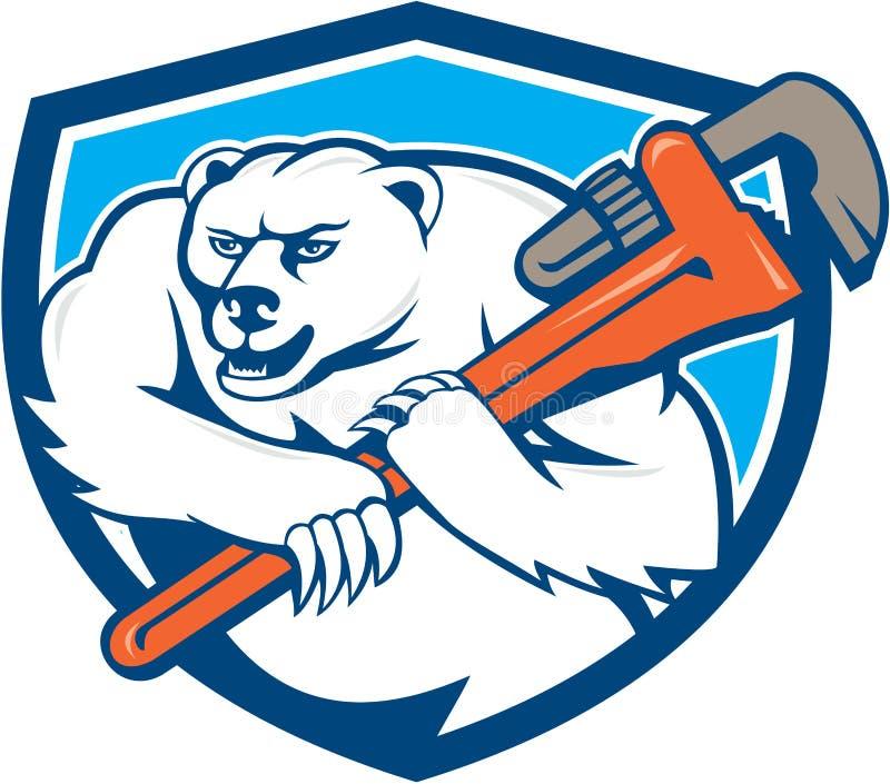 Bande dessinée de Monkey Wrench Shield de plombier d'ours blanc illustration libre de droits