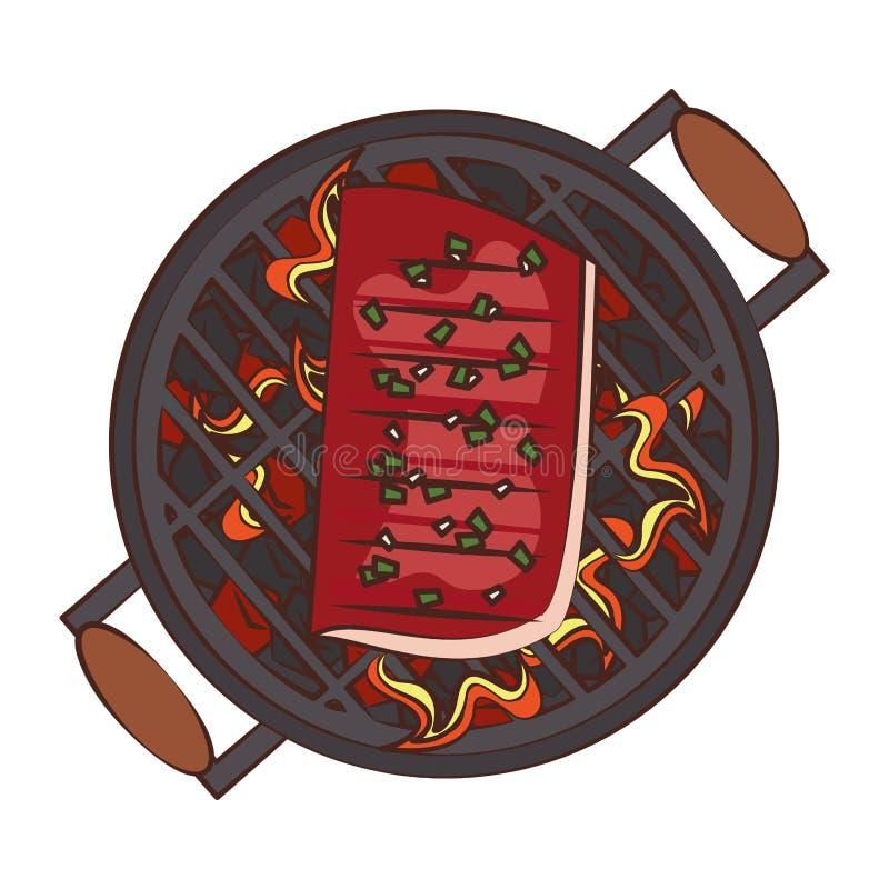 Bande dessinée de nourriture grillée par barbecue savoureux illustration stock