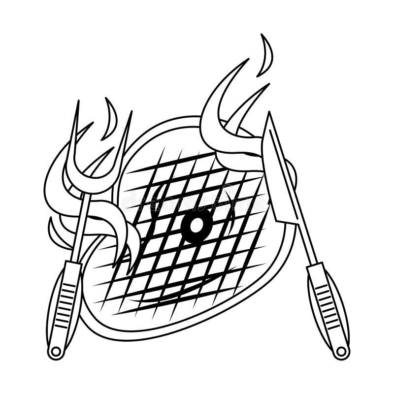 Bande dessinée de nourriture grillée par barbecue savoureux en noir et blanc illustration de vecteur