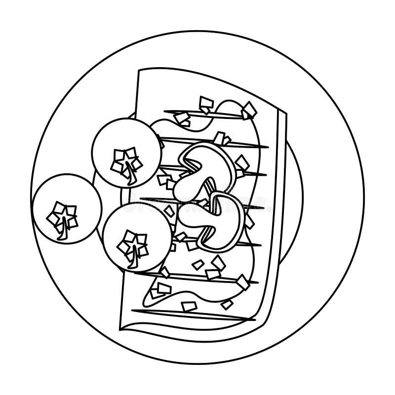 Bande dessinée de nourriture grillée par barbecue savoureux en noir et blanc illustration libre de droits