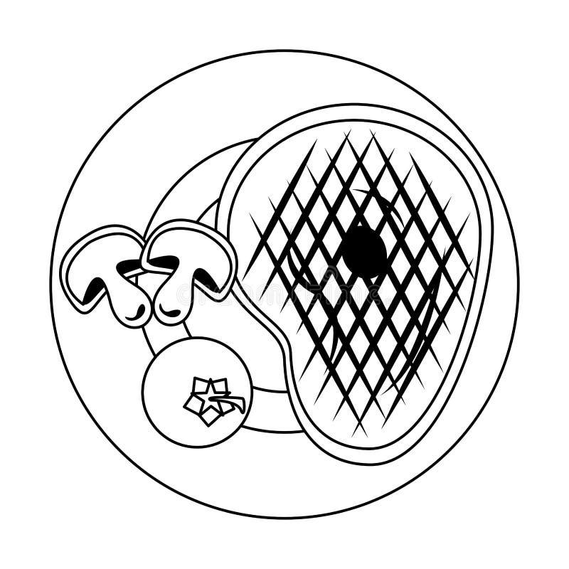 Bande dessinée de nourriture grillée par barbecue savoureux en noir et blanc illustration stock