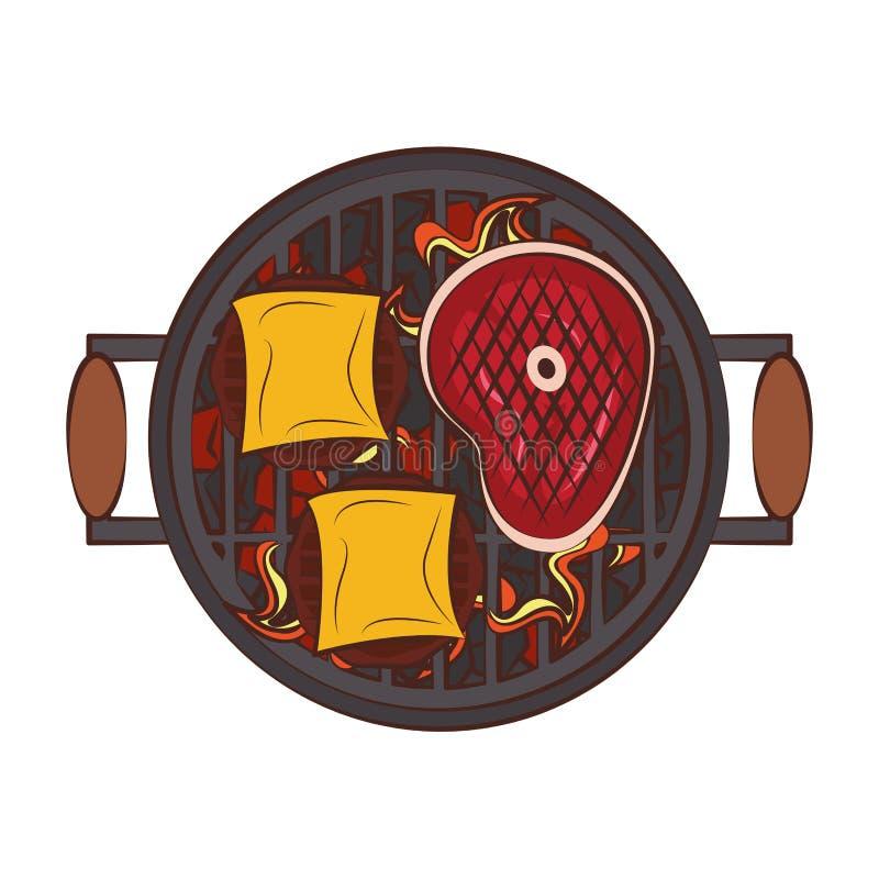 Bande dessinée de nourriture grillée par barbecue savoureux illustration libre de droits
