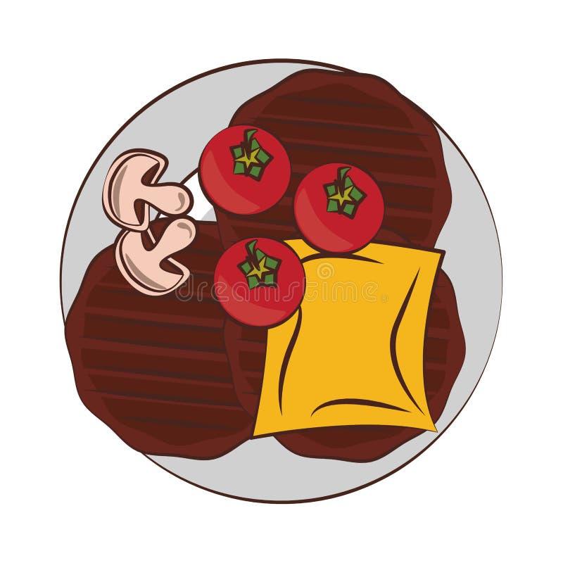 Bande dessinée de nourriture grillée par barbecue savoureux illustration de vecteur