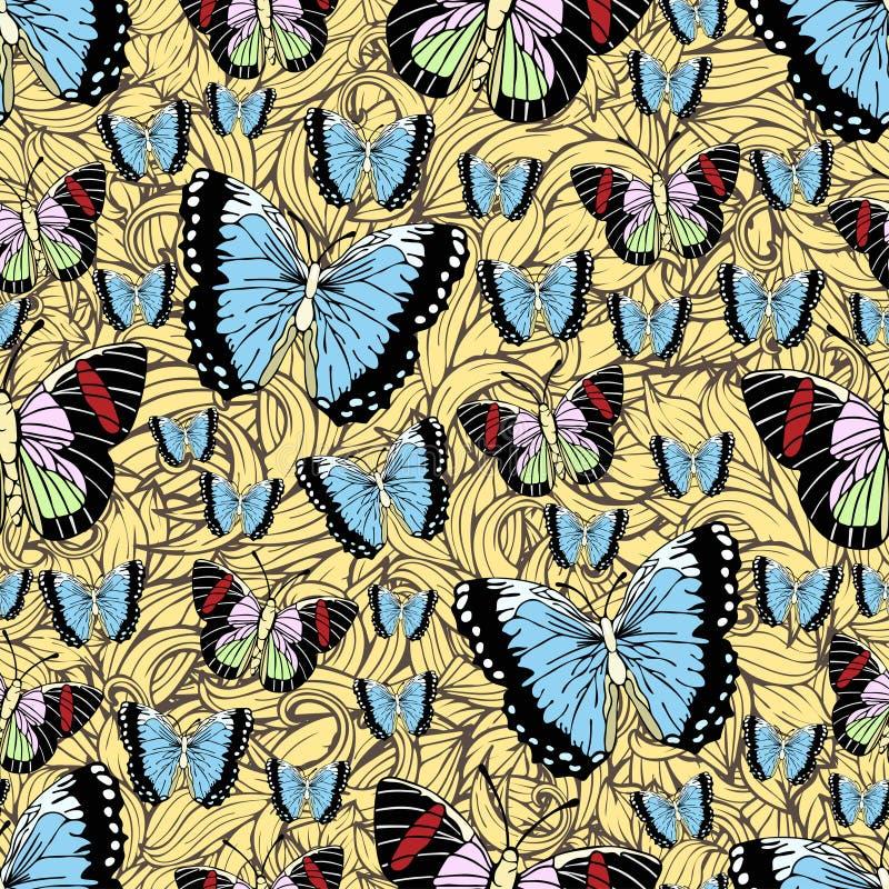 Bande dessinée de papillon dessinant le modèle sans couture, fond de vecteur Insecte dessiné par abstraction avec l'aile en paste illustration libre de droits