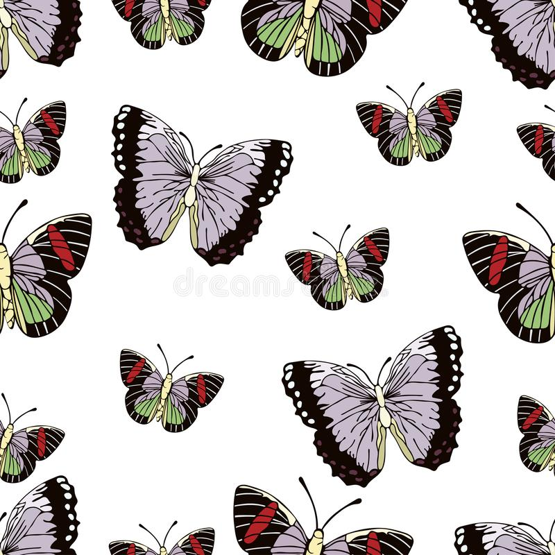 Bande dessinée de papillon dessinant le modèle sans couture, fond de vecteur Insecte dessiné par abstraction avec les ailes en pa illustration stock