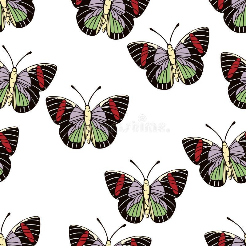 Bande dessinée de papillon dessinant le modèle sans couture, fond de vecteur Insecte dessiné par abstraction avec les ailes rouge illustration de vecteur