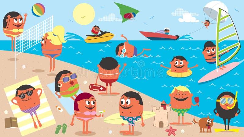 Bande dessinée de paysage de plage illustration stock