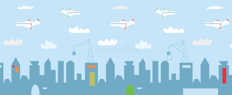 Bande dessinée de paysage urbain avec de hauts bâtiments, constructions illustration stock