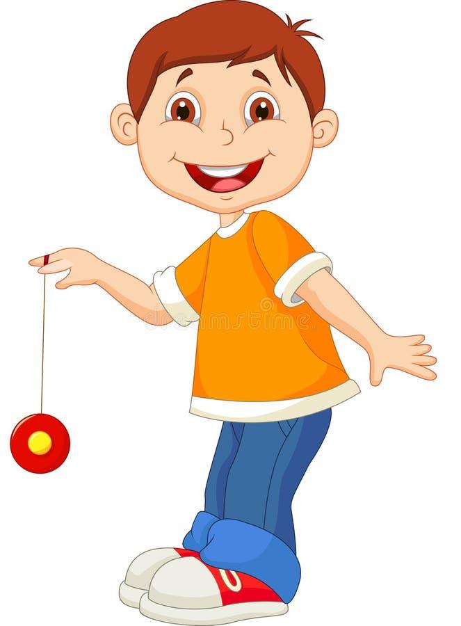 Bande dessinée de petit garçon jouant le yo-yo illustration stock