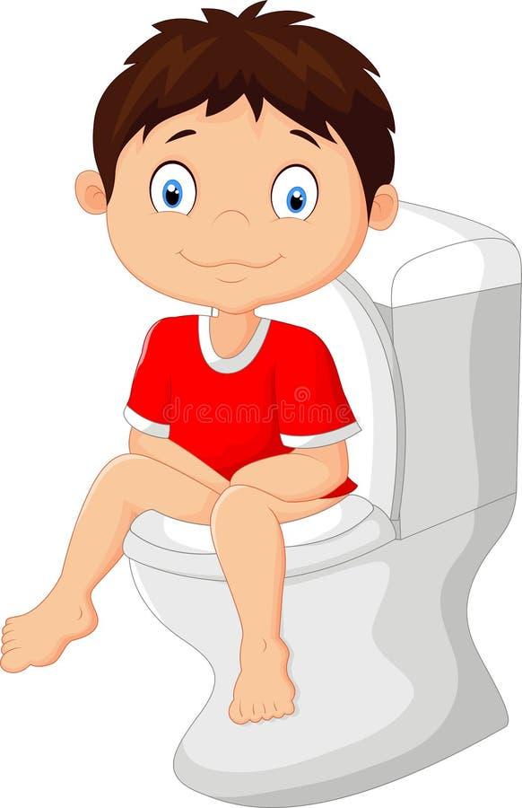 Bande dessinée de petit garçon se reposant sur la toilette illustration de vecteur