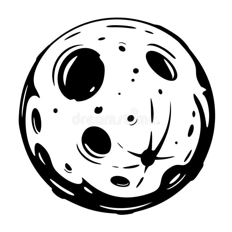 Bande dessin?e de pleine lune noire et blanche illustration stock