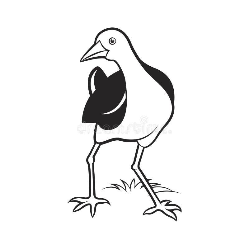 Bande dessinée de poule d'eau regardant en arrière illustration de vecteur