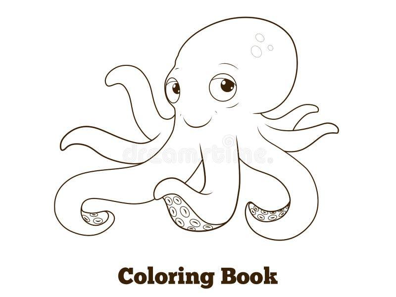 Bande dessinée de poulpe de livre de coloriage éducative illustration de vecteur