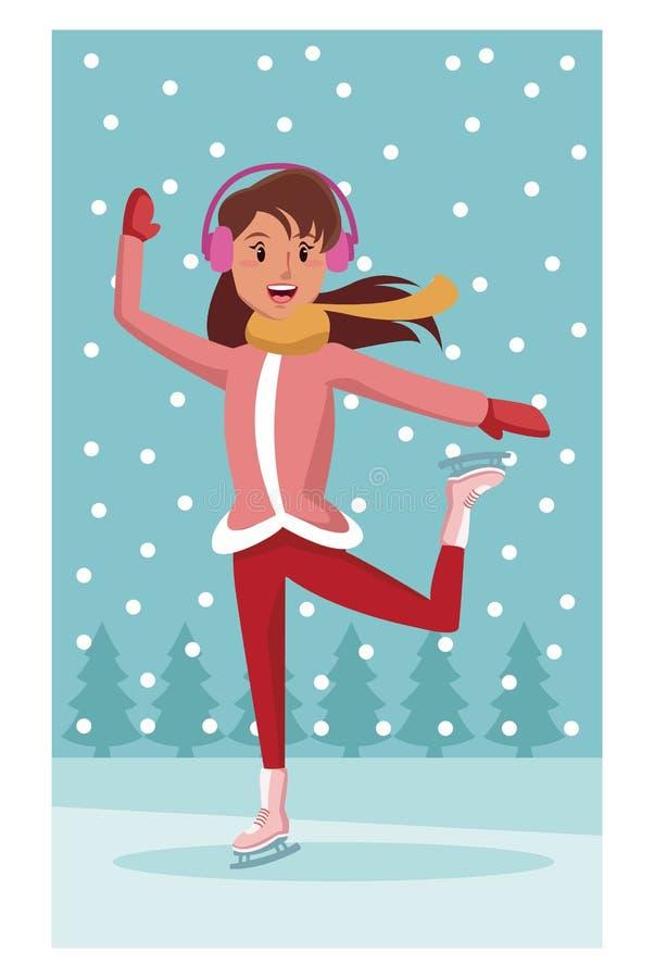 Bande dessinée de raies de glace de femme illustration stock