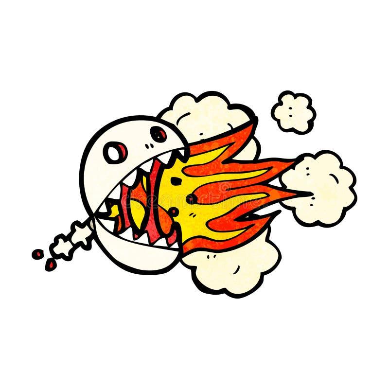 bande dessinée de respiration de crâne du feu illustration de vecteur