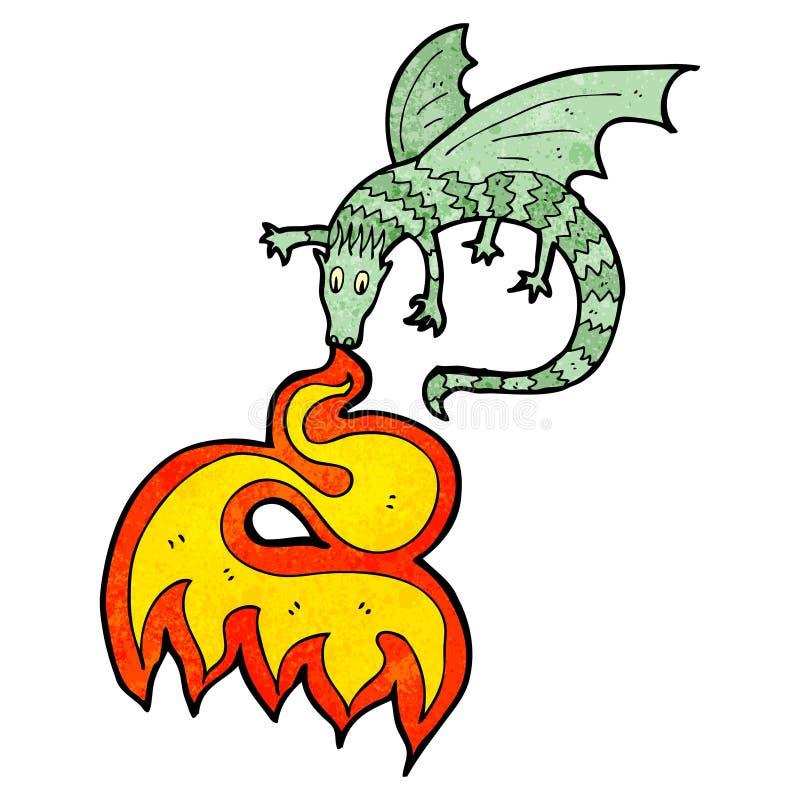bande dessinée de respiration de dragon du feu illustration de vecteur
