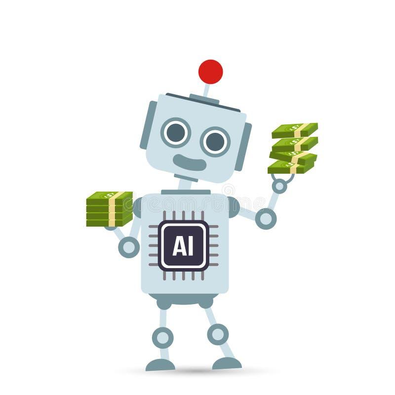Bande dessinée de robot de technologie d'intelligence artificielle d'AI tenant l'argent illustration libre de droits
