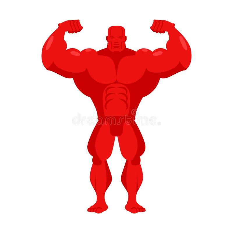Bande dessinée de rouge de Bodybuilder Athlète avec de grands muscles Sportif dessus illustration libre de droits