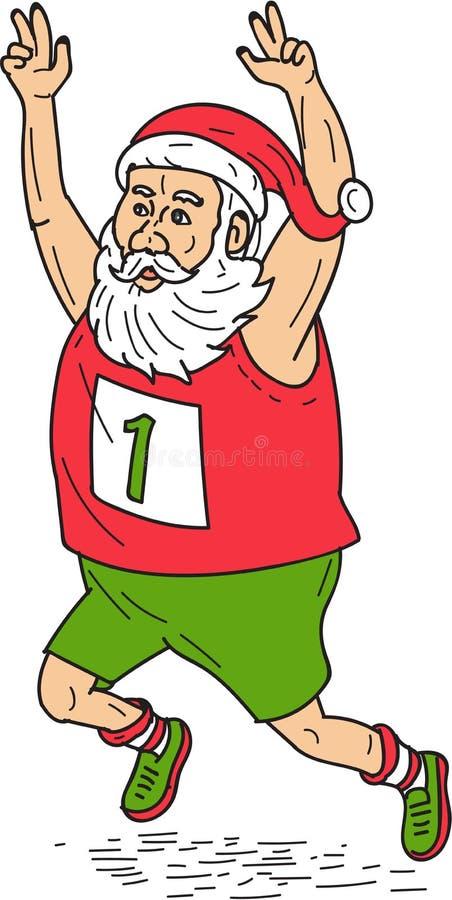 Bande dessinée de Santa Claus Father Christmas Running Marathon illustration libre de droits