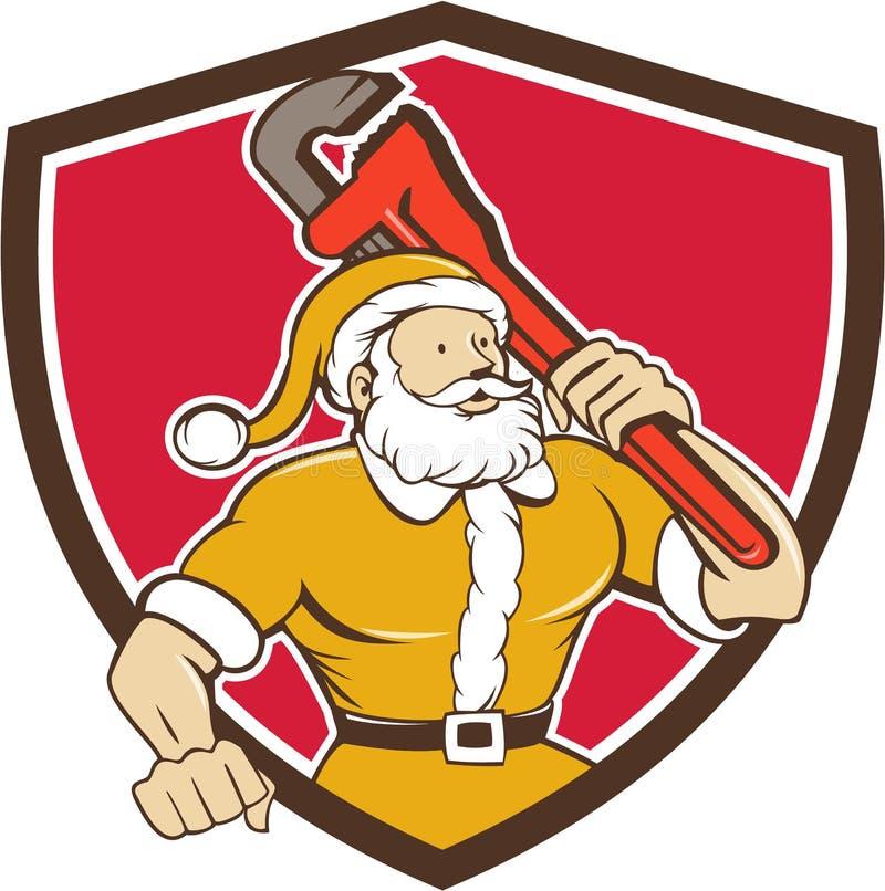 Bande dessinée de Santa Claus Plumber Monkey Wrench Shield illustration de vecteur