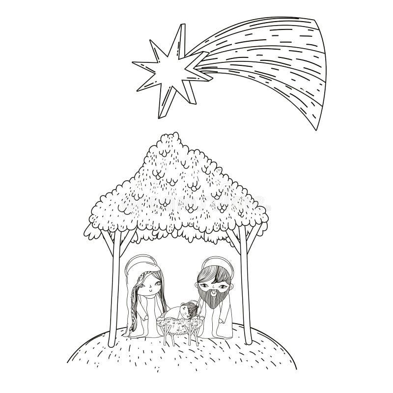 Bande dessinée de scène de nativité de Noël illustration libre de droits