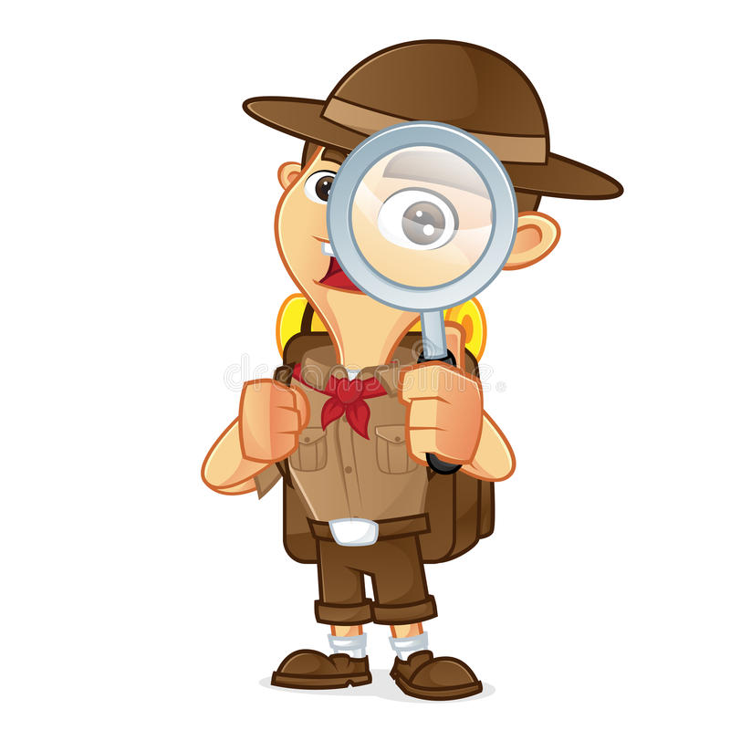 Bande dessinée de scout de garçon tenant la loupe illustration de vecteur