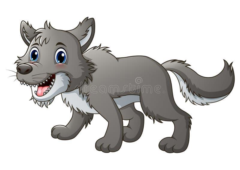 Bande dessinée de sourire de loup illustration de vecteur