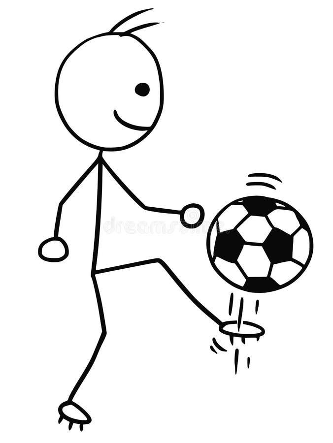Bande dessinée de Stickman de vecteur des coups de pied de joueur de football du football illustration libre de droits