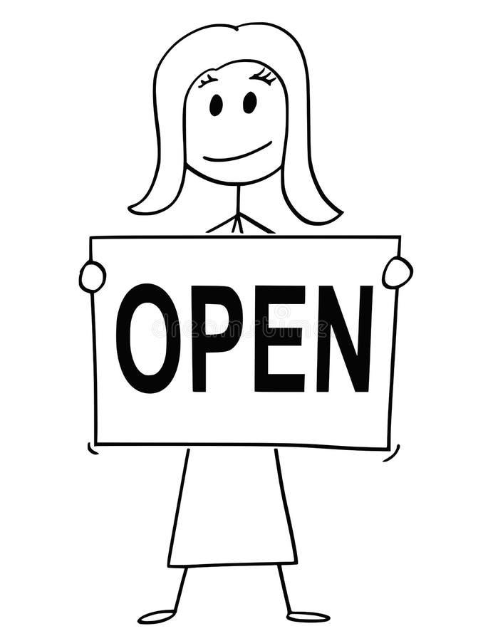 Bande dessinée de texte ouvert de Holding Sign With de femme ou de femme d'affaires illustration stock