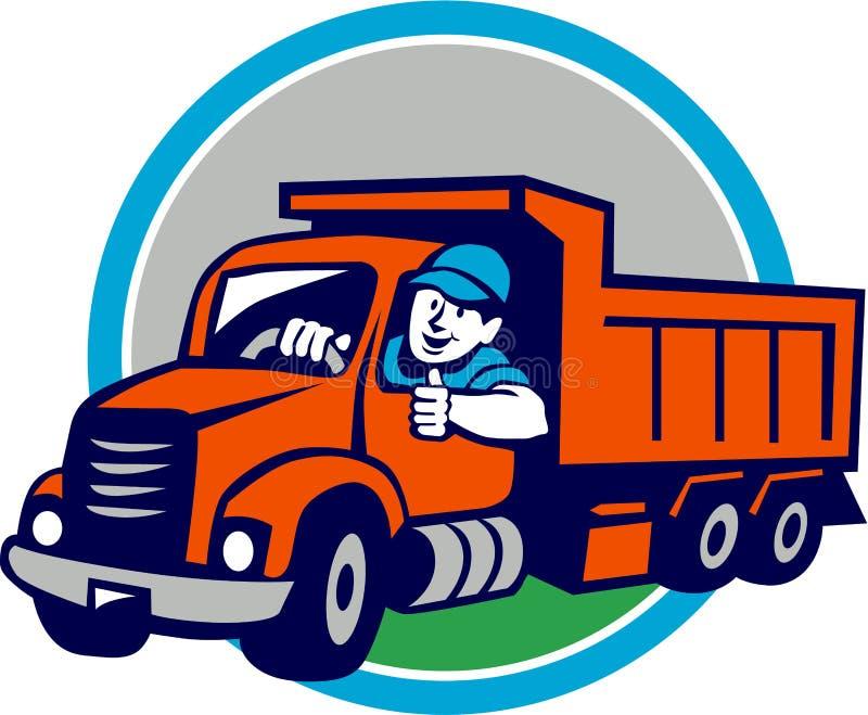 Bande dessinée de Thumbs Up Circle de chauffeur de camion de décharge illustration libre de droits