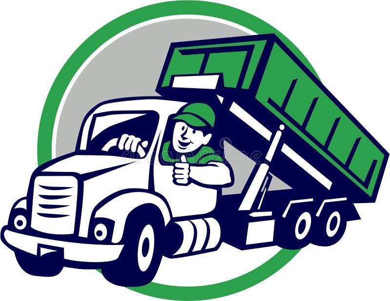Bande dessinée de Thumbs Up Circle de chauffeur de camion de poubelle de décroissance illustration stock