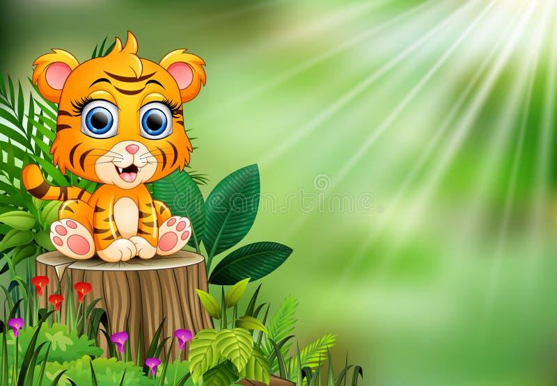 Bande dessinée de tigre de bébé se reposant sur le tronçon d'arbre avec les plantes vertes illustration de vecteur