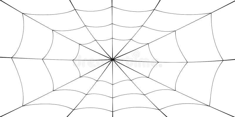 Bande dessinée de toile d'araignée Élément noir de toile d'araignée, fond blanc d'isolement Conception graphique de silhouette de illustration de vecteur